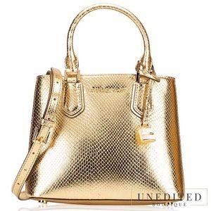 Michael Kors Snakeskin Gold Satchel Handbag
